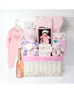 Pink Bunny Celebration Basket, baby gift baskets, baby boy, baby gift, new parent, baby, champagne