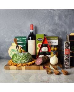 Holiday Wine & Cheese Ball Gift Basket