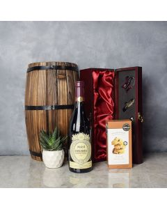 Mahogany Wood Wine Gift Basket, wine gift baskets, gourmet gift baskets, gift baskets