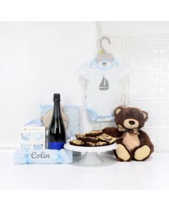 THE BABY BOY & TEDDY GIFT BASKET WITH CHAMPAGNE, baby girl gift basket, welcome home baby gifts, new parent gifts