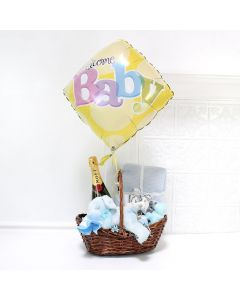 Celebrate A Baby Boy Gift Basket, baby gift baskets, baby boy, baby gift, new parent, baby, champagne