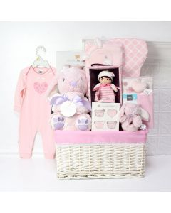 Pink Bunny Baby Basket, baby gift baskets, baby boy, baby gift, new parent, baby, champagne