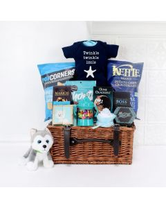 LITTLE PUPPY NEWBORN GIFT BASKET, baby boy gift basket, welcome home baby gifts, new parent gifts