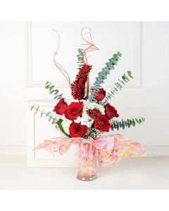 Rose and Hydrangea Vase, floral gift baskets, Valentine's Day gifts, gift baskets, romance