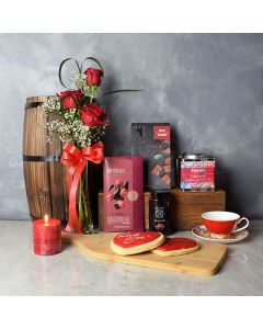 Regal Heights Valentine's Day Gift Basket, gourmet gift baskets, floral gift baskets, Valentine's Day gifts, gift baskets, romance