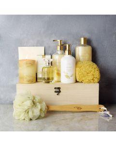 Golden Glow Spa Gift Set, spa gift baskets, spa gifts, gift baskets, spa sets
