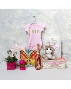 LI'L SIS GIFT SET WITH CHAMPAGNE, baby girl gift hamper, newborns, new parents