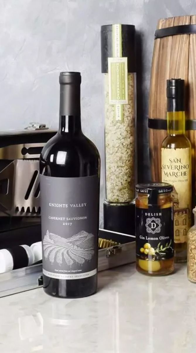 Mediterranean  Grilling Gift Set With Wine